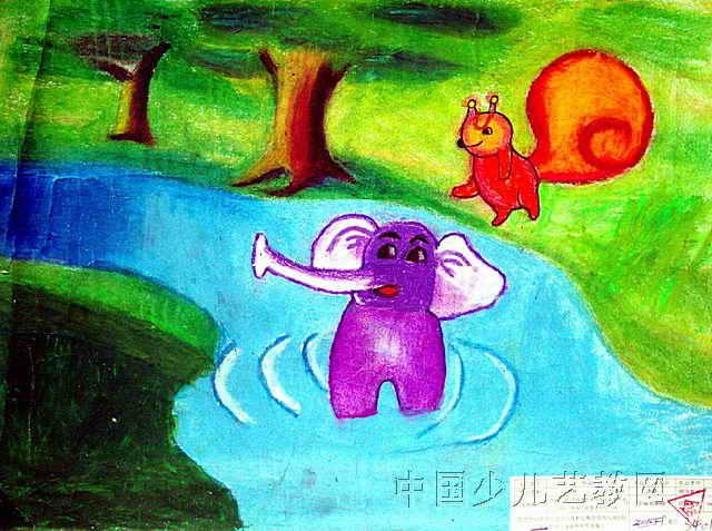 树林儿童画6幅