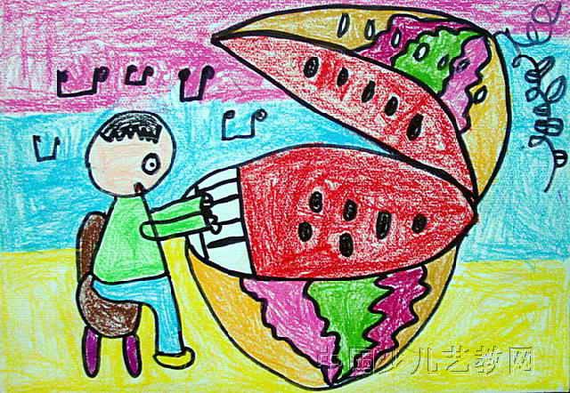 幼儿园画画简单图片西瓜