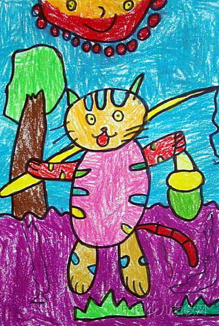 小猫钓鱼儿童画(一)8幅(第4张)