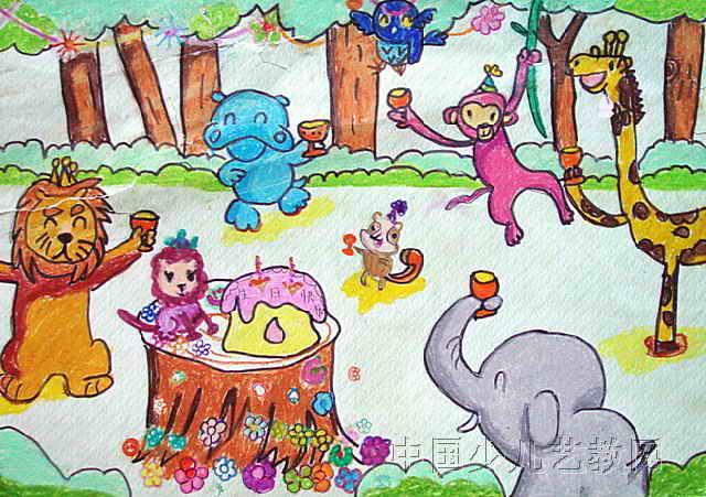 小狮子公主的生日儿童画作品欣赏