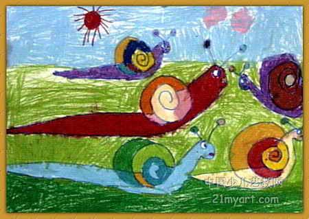 蜗牛一家儿童画