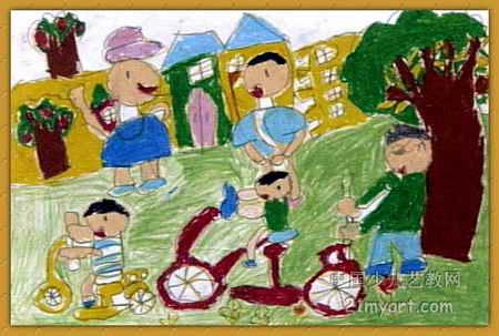 学骑自行车儿童画图片