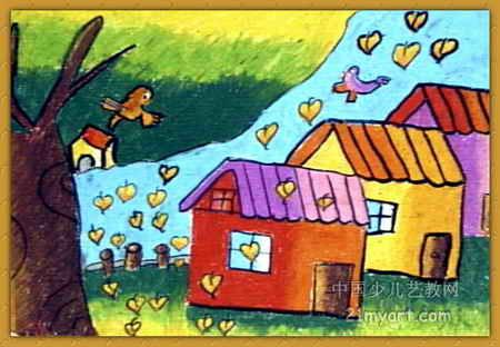 赞美海边家乡的儿童画_风景520