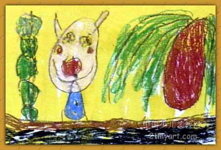 儿童彩铅荷叶画展示