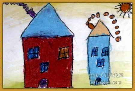 小屋儿童画3幅