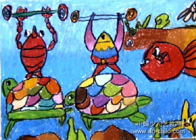 海底运动会油画棒儿童
