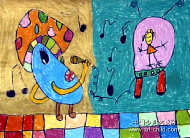 快乐的一天儿童画10幅(第9张)
