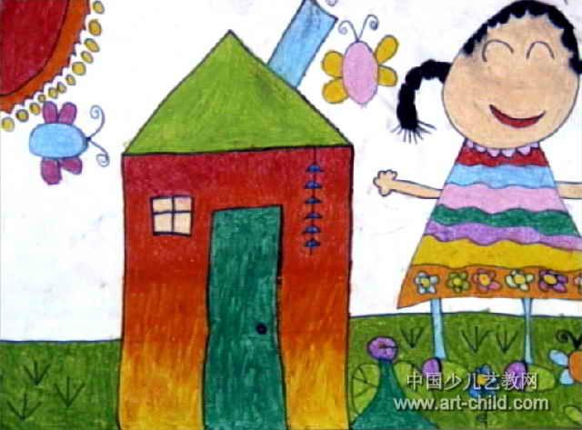 我爱我家主题画简笔画-我爱我家儿童画13幅 第10张