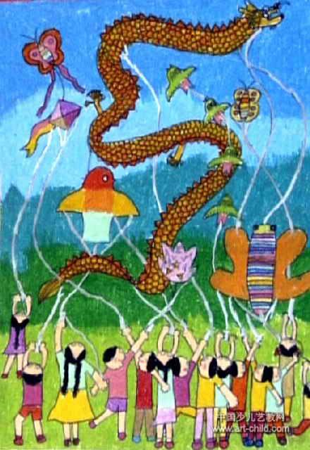 放风筝儿童画(十四)8幅