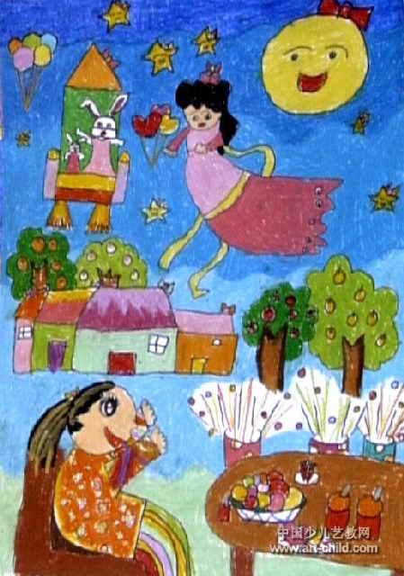我和嫦娥姐姐在一起儿童画