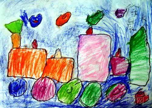 水果阿姨儿童画 我和蝴蝶亲亲儿童画作