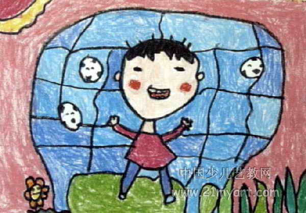 从小练足球儿童画