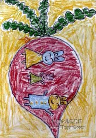 小兔一家儿童画2幅