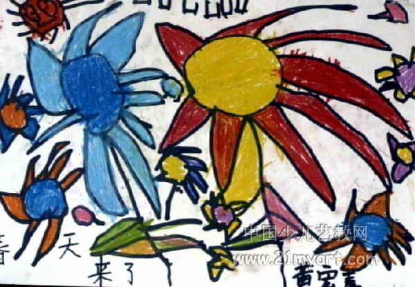 马丁 儿童画/马丁儿童画/春天来了儿童画,此幅油画棒画大小为415x600像素,...