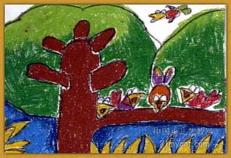 小鸟一家儿童画