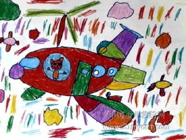 小兔飞机儿童画作品欣赏