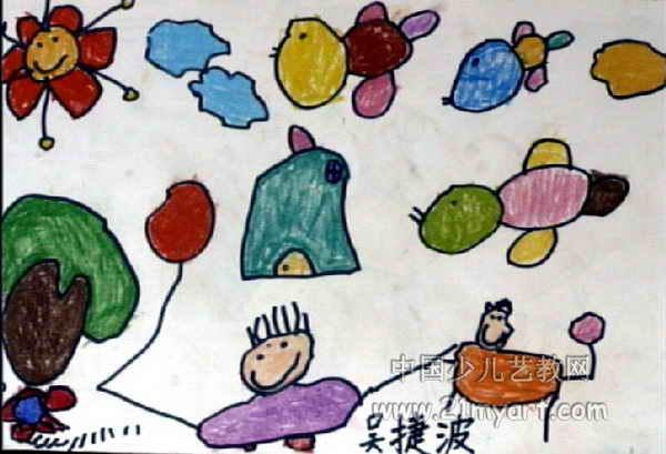看小鸟儿童画,此幅水彩画尺寸为409x600像素