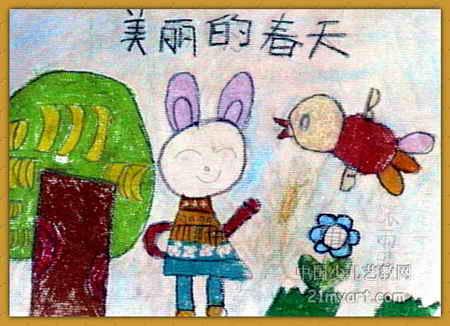 儿童风景油画棒范画图片展示_儿童风景油画棒范画相关图片下载
