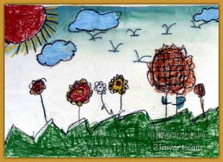 儿童画 蔺彦如/美丽的春天儿童画,此幅油画棒画尺寸为327x450像素,作者蔺...