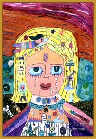 简笔画小姑娘长辫子-可爱的小女孩儿童水粉画