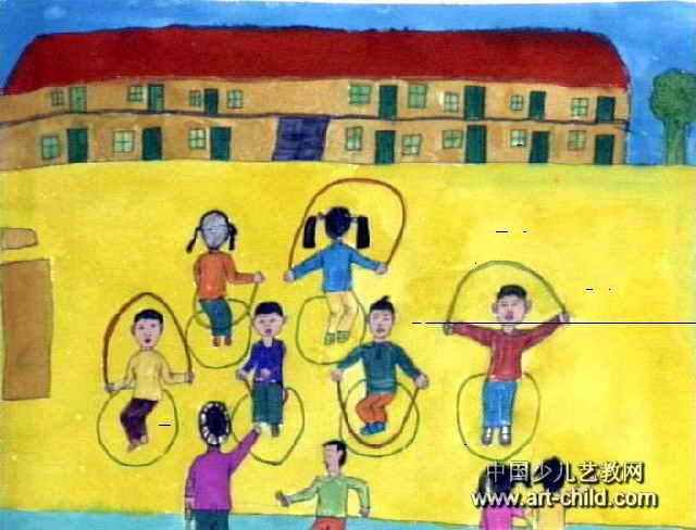 跳绳比赛儿童画7幅