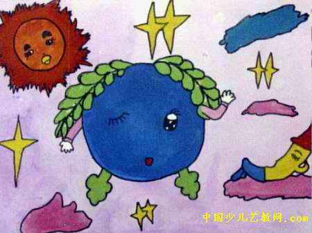 宇宙中儿童画,这幅水彩画作品长337px