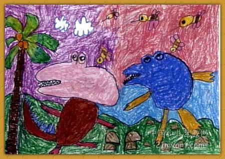 当蜜蜂哲了恐龙 儿童画