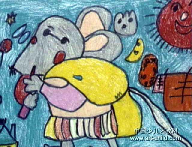 偷东西的小老鼠儿童画作品欣赏