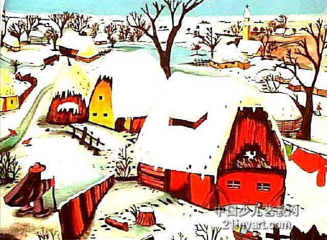 雪乡儿童画作品欣赏