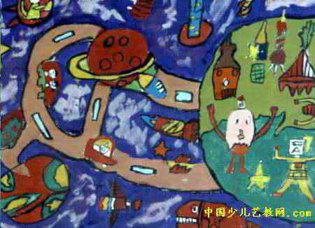 未来世界儿童画属于水粉画