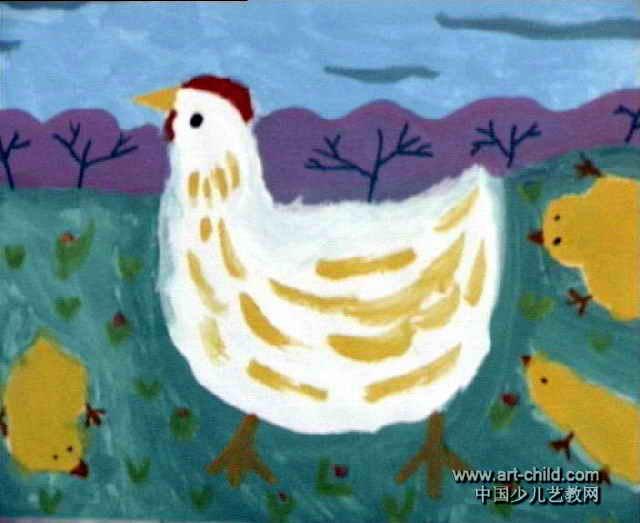 奶奶家的鸡儿童画作品欣赏