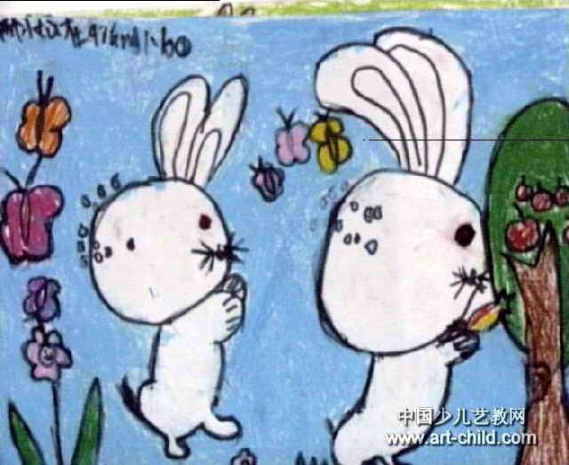 抢萝卜的小白兔儿童画图片