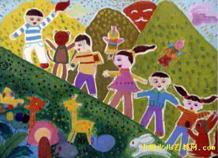 登山儿童画2幅图片