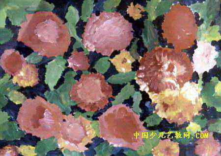 花儿朵朵儿童画,此幅水粉画尺寸为319x450像素