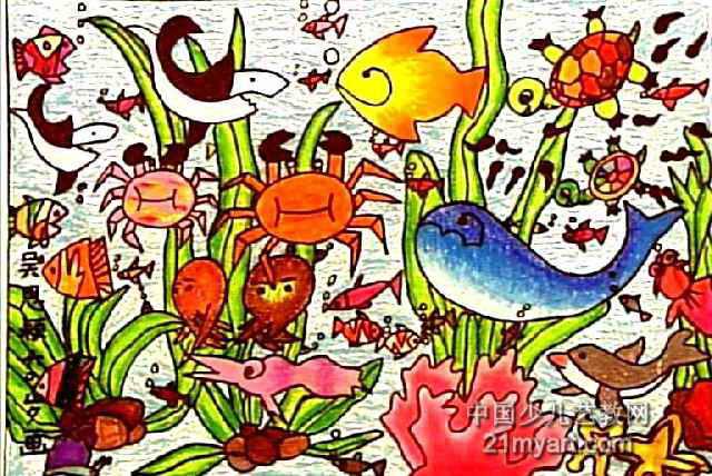 庆祝儿童画,这幅水彩画作品长428px