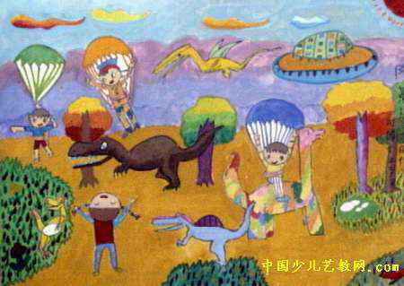 降落恐龙时代儿童画