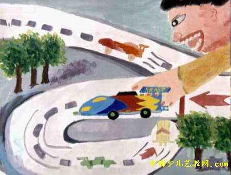 我的旋风赛车儿童画
