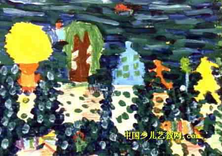 倒影儿童水粉画,此幅水粉画尺寸为316x450像素,作者陈译萱,女,6岁,来自松江县方塔幼儿园。