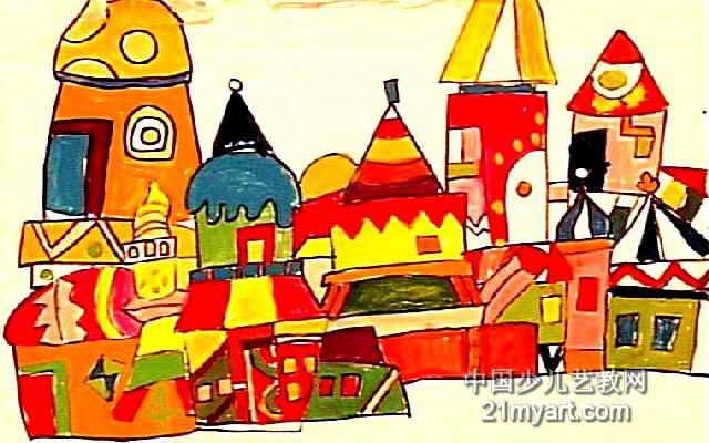 城堡儿童画属于水粉画,长400px,宽640px,作者孙宝琪,男,8岁,就读大庆