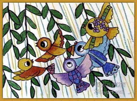 小鸟赶集儿童画图片