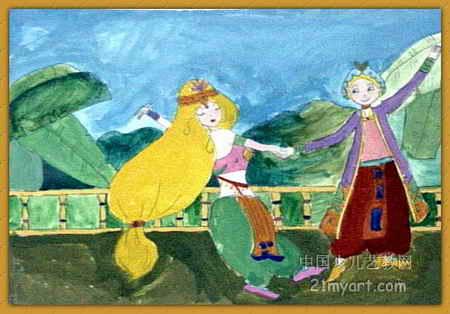 阿拉丁与公主儿童画