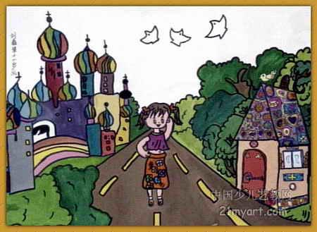 简笔画 儿童画 儿童水粉画 >> 逛公园儿童画2幅   逛公园儿童画属于