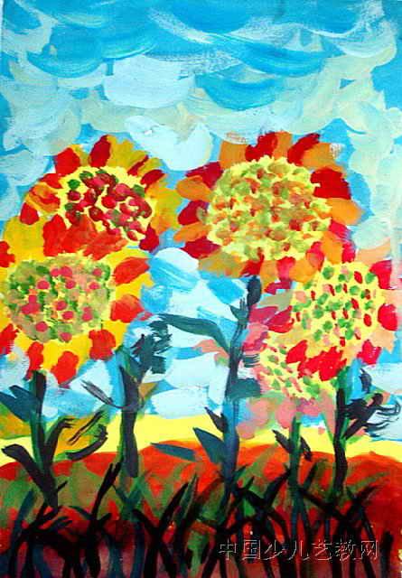 向日葵儿童画属于水粉画,长640px,宽445px,作者杨宇光,来自清水河县第