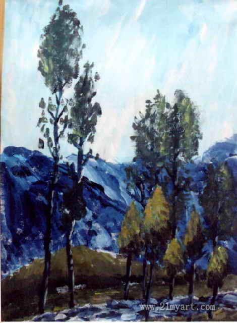 """""""树""""儿童画,这幅水粉画作品长640px,宽470px,"""