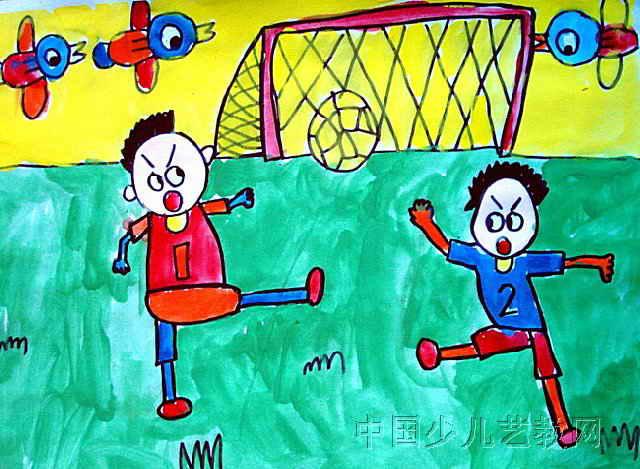 踢足球儿童画,这幅水粉画作品长469px