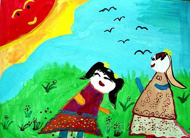 这幅水粉画作品长463px,宽640px,作者王书凝,女,6岁,就读二连浩特市