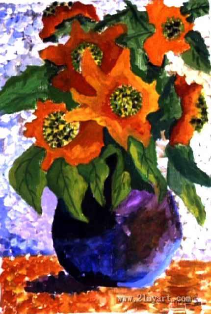 花卉儿童画,这幅水粉画作品长640px