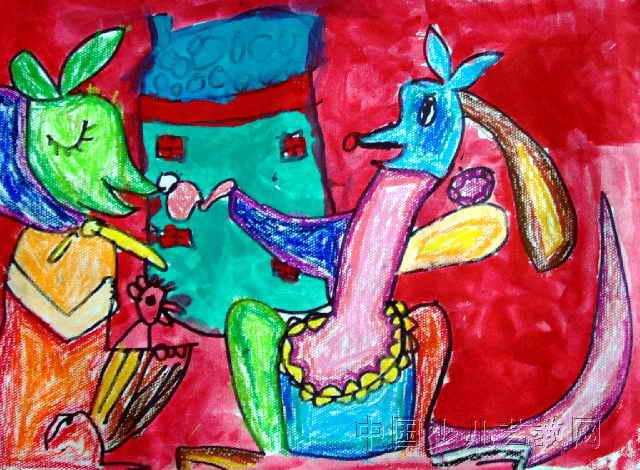 亲密的一家人儿童画作品欣赏图片