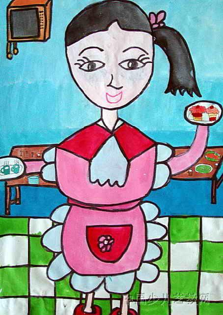 中秋月圆更圆儿童画 我和超人做朋友儿童画