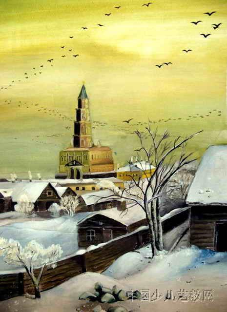 """""""雪""""儿童画属于水粉画,作品长640px,宽465px,作者卓拉,女,14岁,就读呼"""